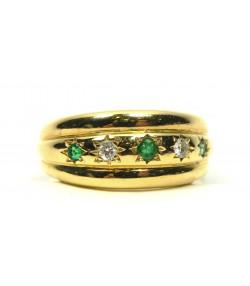 Alliance or jaune, émeraudes, diamants