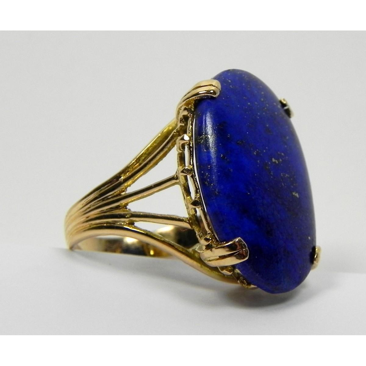 bague cabochon lapis lazuli et or 750 muse or. Black Bedroom Furniture Sets. Home Design Ideas