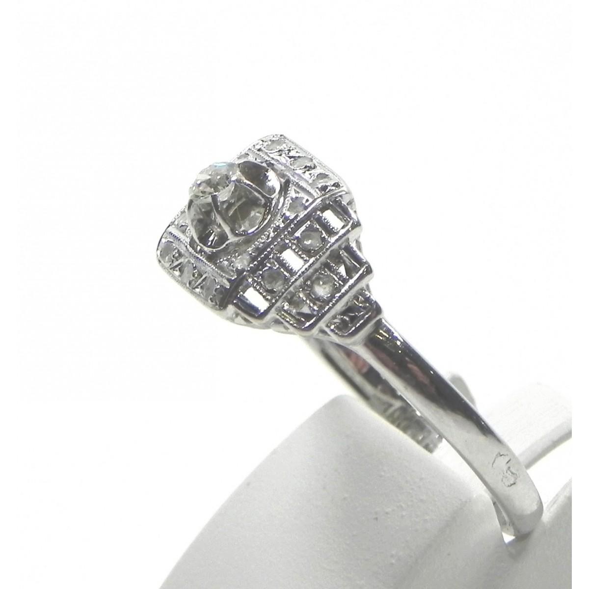 Extrem Bague Art Déco or gris platine et diamants - Muse & Or KK13