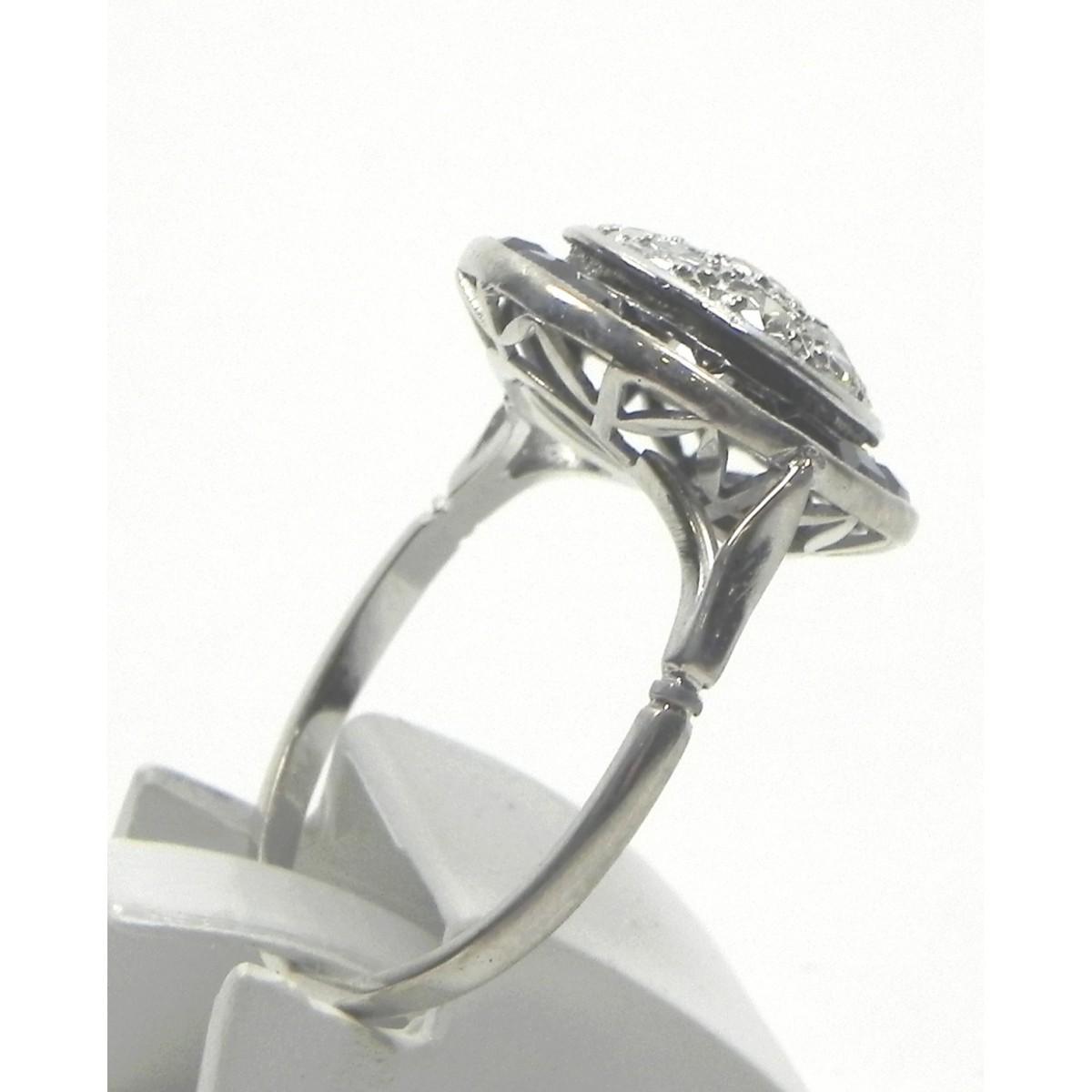 bague art d co or platine saphirs diamants muse or. Black Bedroom Furniture Sets. Home Design Ideas