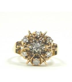 Bague or rose et diamants années 50