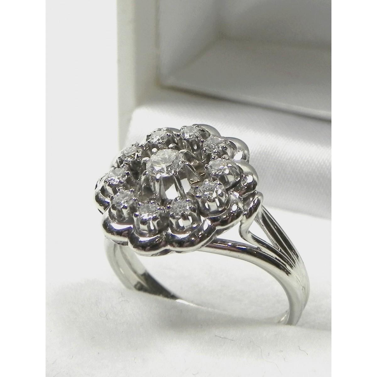 Très Bague ancienne marguerite or gris et diamant - Muse & Or WP61