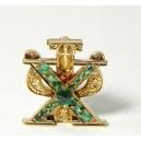 Insigne religieux or 585 emeraudes