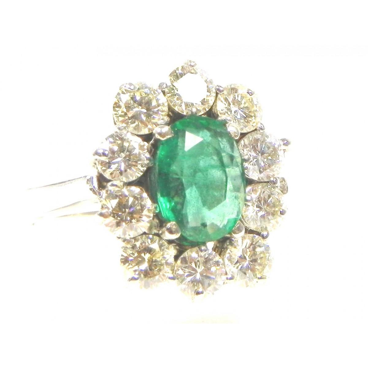 Assez Superbe bague or gris, émeraude et diamants - Muse & Or CL81