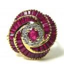Bague Tourbillon Rose, rubis et diamants