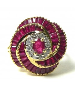 Bague Tourbillon Rose, rubis et diamants