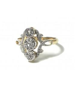 Bague provençale du XIXème, or argent diamants