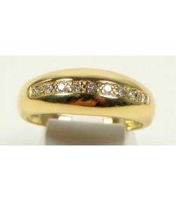 Bague jonc, diamants et or