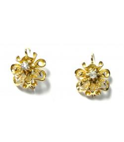 Superbes boucles d'oreilles en or à volutes enroulées et diamants
