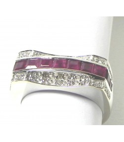 Bague Pont or rubis et diamants