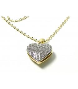 Délicat ensemble chaine et pendentif cœur or pavage 40 diamants