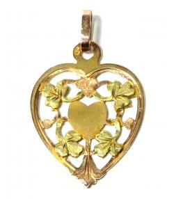 Charmant pendentif cœur or rose et vert