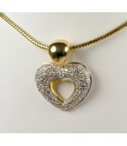 Pendentif cœur or bicolore 750 et diamants