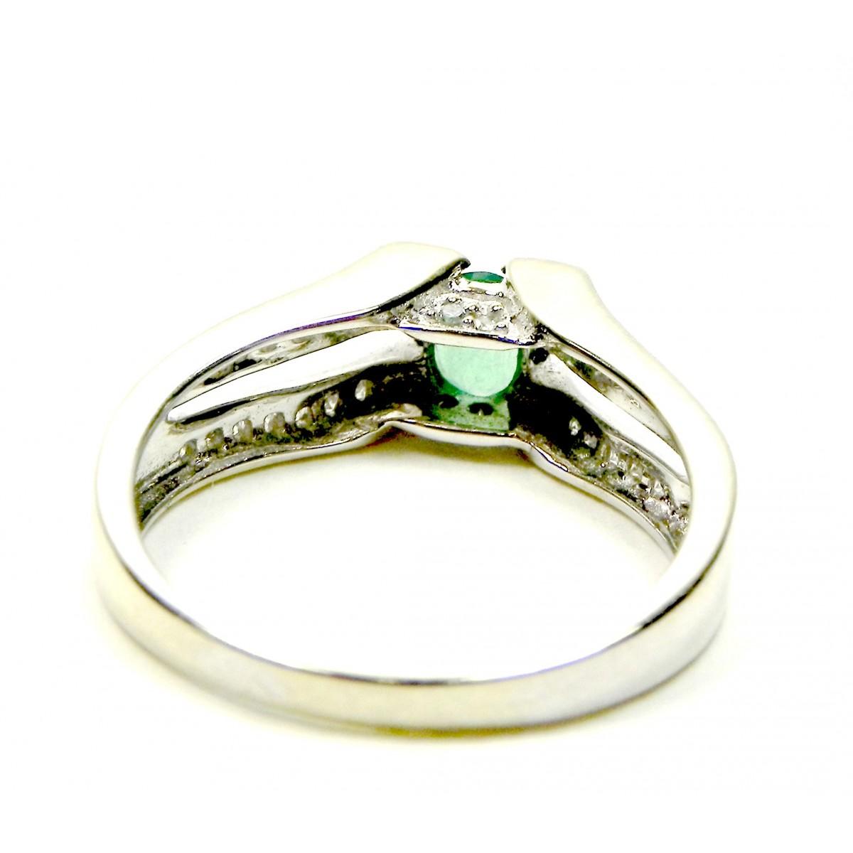 Souvent Bague moderne or gris, émeraude, diamants - Muse & Or UR35