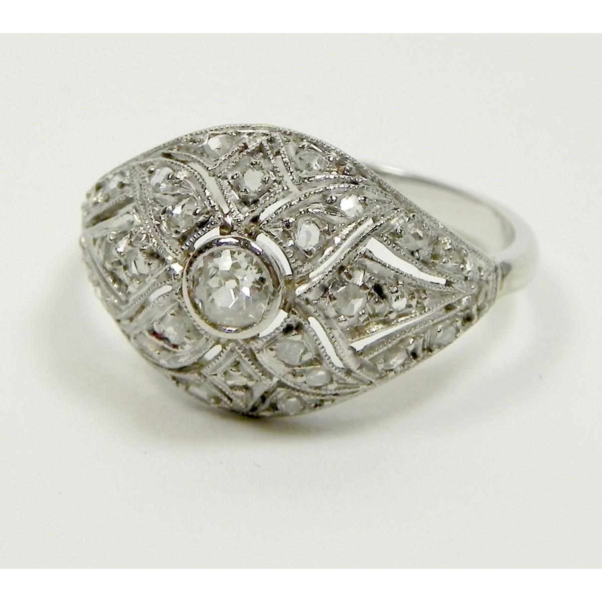 Connu Rare bague art déco or platine et diamants - Muse & Or KQ58