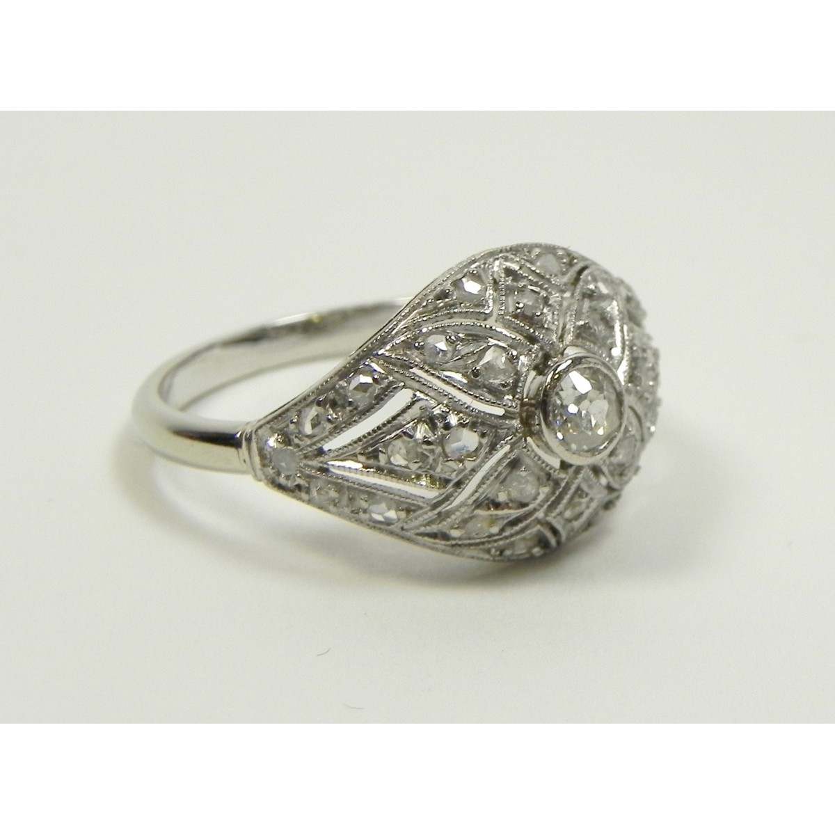 Assez Rare bague art déco or platine et diamants - Muse & Or EQ55