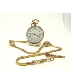 Ensemble XIXème, montre, giletière et clef en or