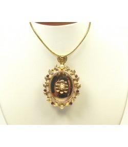 Pendentif broche ancien or, grenats, perles