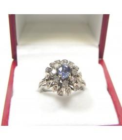Bague or gris diamants et saphir