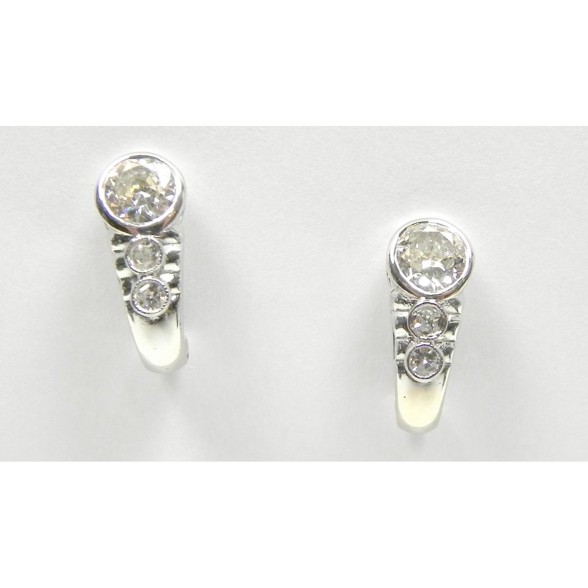 Boucles d'oreilles or gris diamant