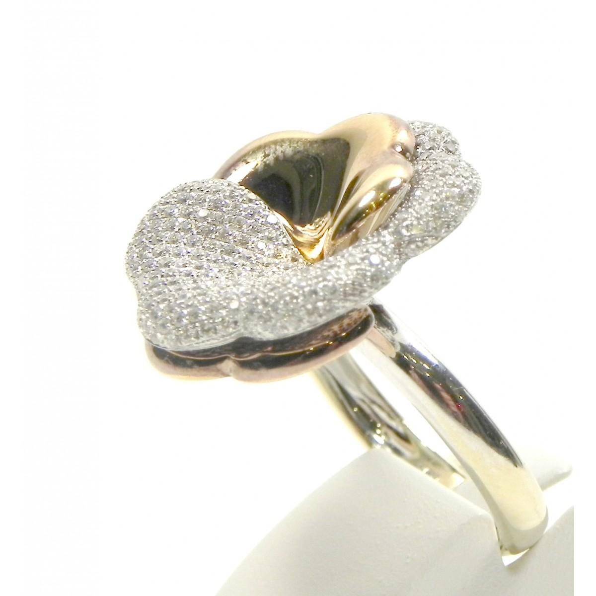 Préférence Bague fleur trois or 750 et diamants - Muse & Or ID96