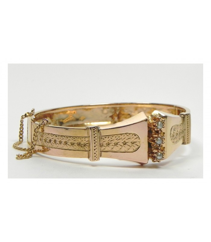 Bracelet Napoléon III en or rose et perles