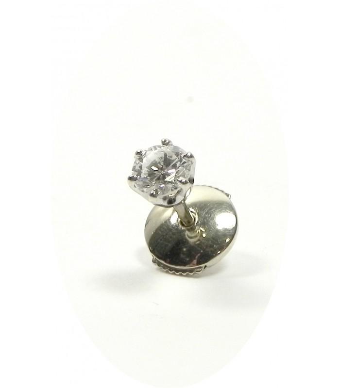 livraison gratuite 406f5 549bf Clou d'oreille or gris et diamant