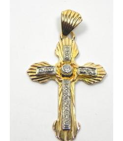 Croix ancienne en or, platine et diamants