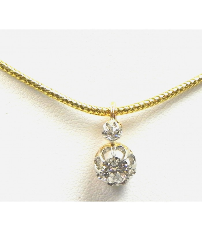 Pendentif ancien, diamants, or et argent
