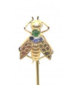 Epingle de cravate abeille or et pierres précieuses