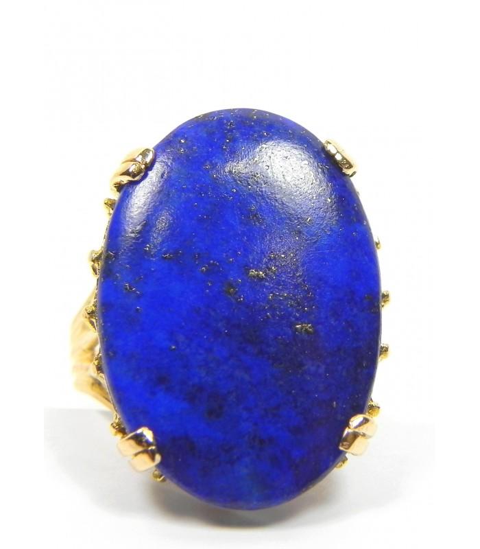 Bague cabochon lapis-lazuli, et or 750