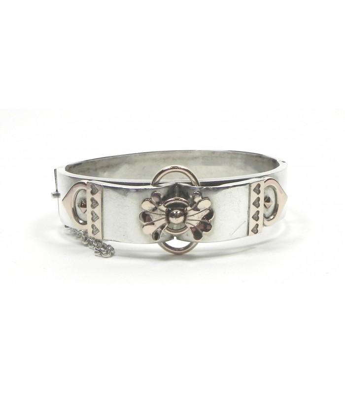 Bracelet ancien en argent et vermeil rose