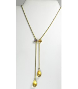 Collier or, citrines, diamant et améthyste