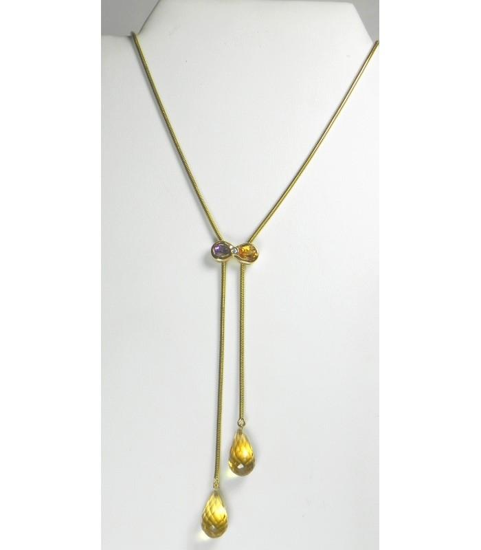 Collier or, citrines, diamant et améthyste