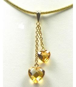 Création Muse & Or,pendentif or et citrines cœur