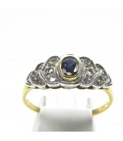 Bague début XXème or, argent saphir, diamants
