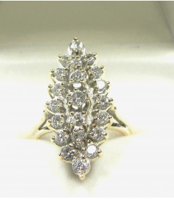 Marquise or jaune et rhodié 21 diamants