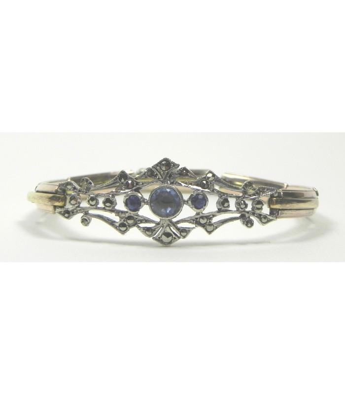 Bracelet 1900, argent, vermeil et pierres