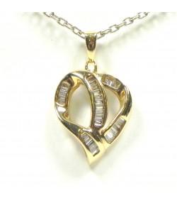 Pendentif cœur or et diamants baguettes