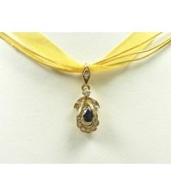 Pendentif fleur or saphir et diamants