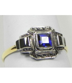 Bague or argent pierre bleu