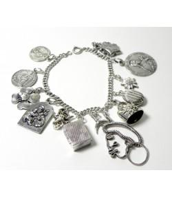 """Etonnant Bracelet 13 """"Charms"""" argent et métal argenté"""