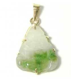 Pendentif jade gravé Buddha et or
