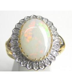 Bague joaillerie or 750 opale entourage diamants