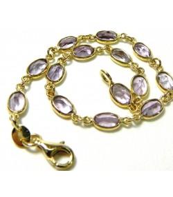 Bracelet or aux maillons d'améthyste