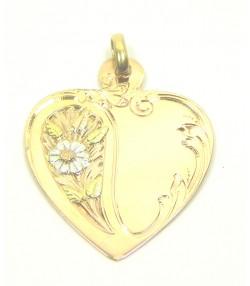 Pendentif coeur Art nouveau 3 ors