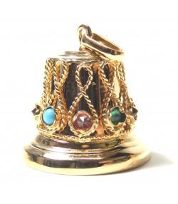 Original pendentif ancien, cloche or et pierres de couleurs