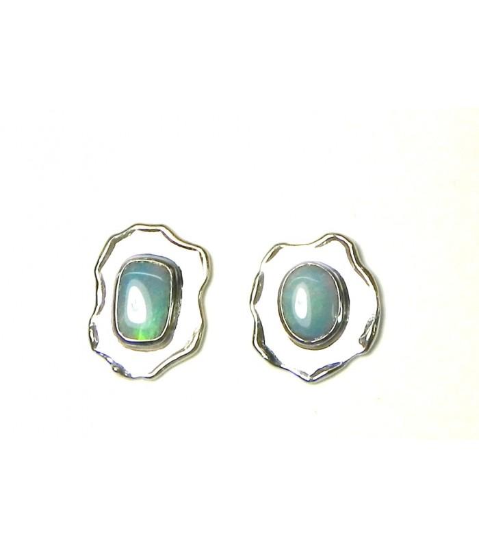 Boucles d'oreille modernes or gris et opales noires
