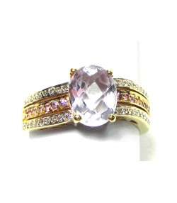 Bague Vague d'améthystes et diamants sur or 750