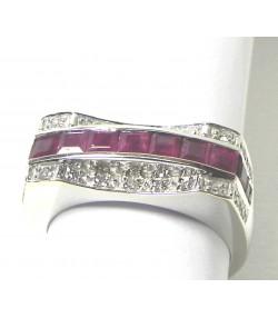 Bague Pont or rubis et diamants
